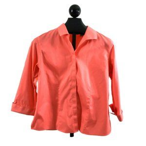 Chicos Womens Sz 2 (12) No Iron Coral Blouse